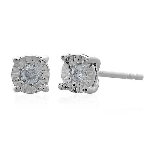 9K White Gold 0.10 Carat Diamond (Rnd) (I3/G-H) Stud Earrings (with Push Back) SGL Certified