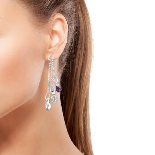 RACHEL GALLEY Mystic Collection Amethyst Dangle Earrings (with Push Back) in Rhodium Overlay Sterling, Silver wt 14.69 Gms