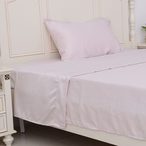 Luxury Sateen - Single Size Set of 3 - Dusky Rose Matt Sateen Flat Sheet (265x180 Cm), Fitted Sheet