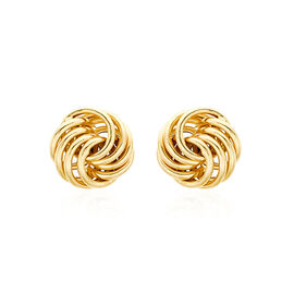 JCK Vegas Collection 9K Yellow Gold Knot Stud Earrings (with Push Back)