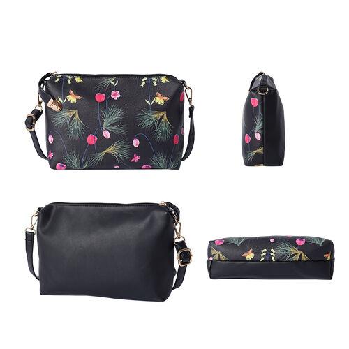 Set of 5 - Flower and Butterfly Pattern Tote Bag (29x12.5x30cm), Convertible Bag (27.5x13x19cm), Crossbody Bag (12.5x9x22cm), Wallet 19x2x10cm) & key Bag (6x10cm) - Black, Yellow and Pink
