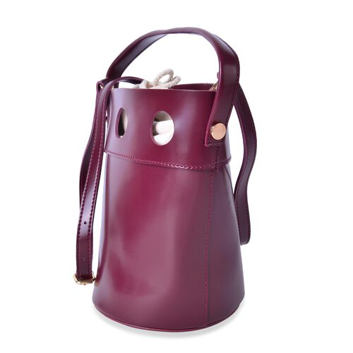 New Style Bucket Bag with Burgundy Canvas Open Top and Adjustable Shoulder Strap (Size 23.5x17x17 Cm)