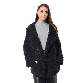 Faux Fur Long Sleeve Short Coat in Black Colour