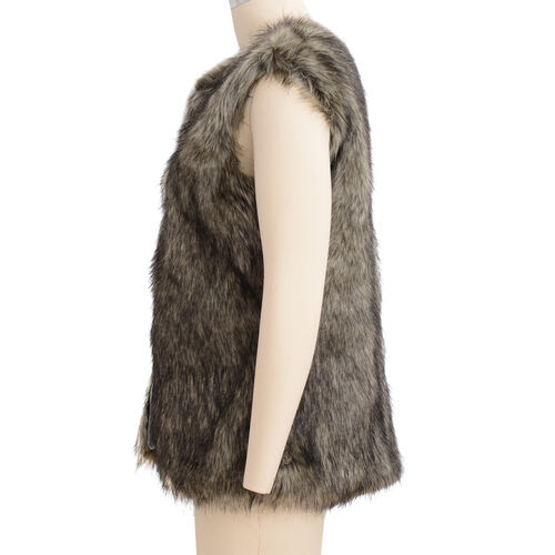 Close Out Deal Luxe Super Soft Helson Faux Fur Khaki and Black Colour Gilet ( Size 14-16 )