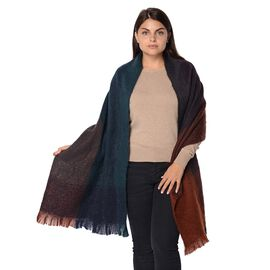 Check Pattern Winter Scarf with Small Fringes (Size 59x198+5 Cm) - Navy and Brown