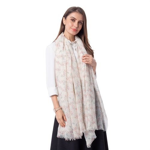 Epic Deal Ice Coffee and Multi Colour Small Flower Pattern Scarf (Size 180x90 Cm)