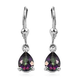 Northern Lights Mystic Topaz (Pear) Lever Back Earrings in Platinum Overlay Sterling Silver 2.50 Ct.