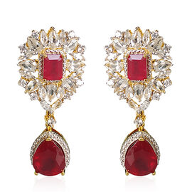 Limited Edition-African Ruby (Pear and Oct 11.84 Ct), Natural Cambodian Zircon Dangle Earrings (with Push Back) in Rhodium and Yellow Gold Overlay Sterling Silver 20.040 Ct,