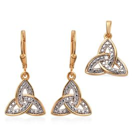 2 Piece Set - Natural Diamond (Rnd) Celtic Knot Lever Back Earrings and Pendant in 14K Gold and Plat