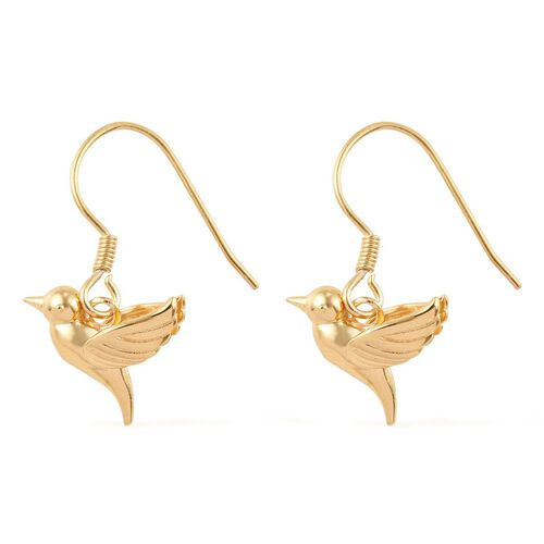 Yellow Gold Overlay Sterling Silver Flying Bird Fish Hook Earrings