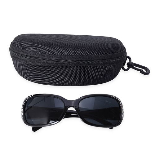 Shiny Black Classic Shaped Frame Sunglasses with Crystals and UV Protection Lenses Including Hard Plastic Black Pouch