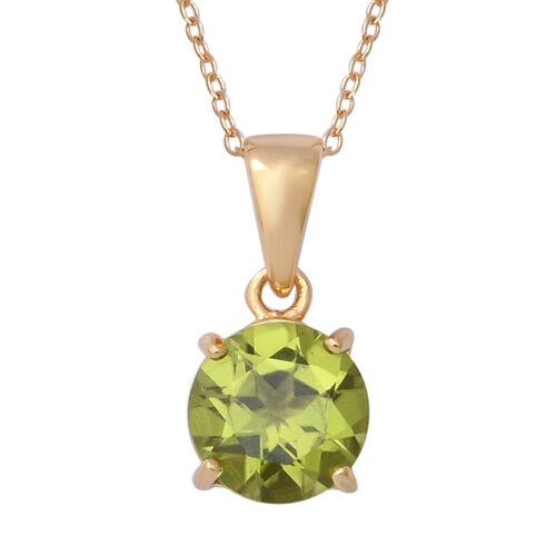 3 Piece Set - Hebei Peridot (Rnd) Solitaire Ring, Earrings and Pendant with Chain in Yellow Gold Overlay Sterling Silver 5.96 Ct, Silver wt 5.38 Gms