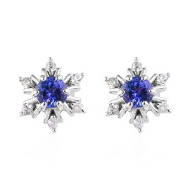 AA Tanzanite and Natural Cambodian Zircon Snowflake Stud Earrings (with Push Back) in Platinum Overl