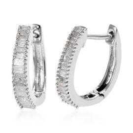 Diamond (Bgt) Hoop Earrings (with Clasp) in Platinum Overlay Sterling Silver Earring  0.505 Ct.
