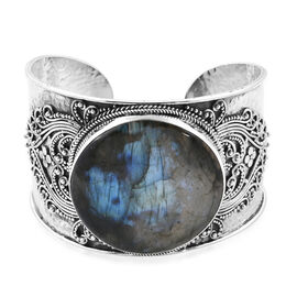 Royal Bali Collection Hand Made Labradorite (Rnd 40 mm) Cuff Bangle (Size 7.5) in Sterling Silver 98