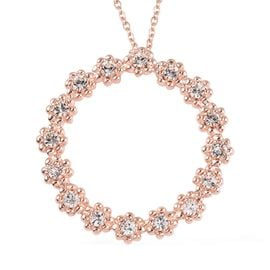 J Francis - Crystal from Swarovski White Crystal Flower Circle Pendant with Chain (Size 20) in 18K R