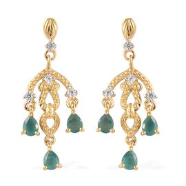 Grandidierite and Natural Cambodian Zircon Dangling Earrings (with Push Back) in 14K Gold Overlay St