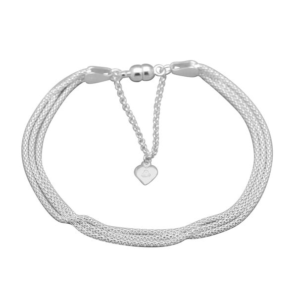 Sterling Silver 3 Strand Popcorn Bracelet (Size 7) with Magnetic Lock, Silver Wt 5.10 Gms