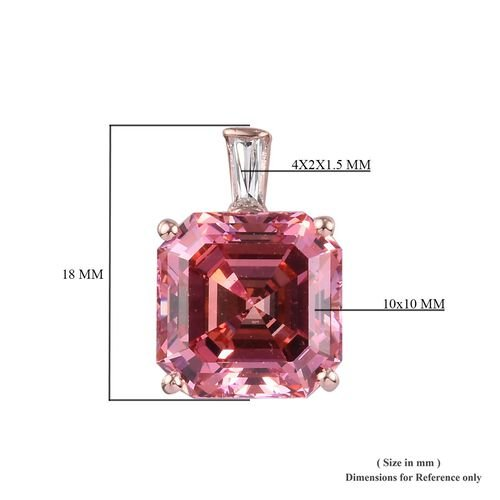 J Francis - Rose Gold Overlay Sterling Silver Asscher Cut Pendant Made with Pink and White SWAROVSKI ZIRCONIA