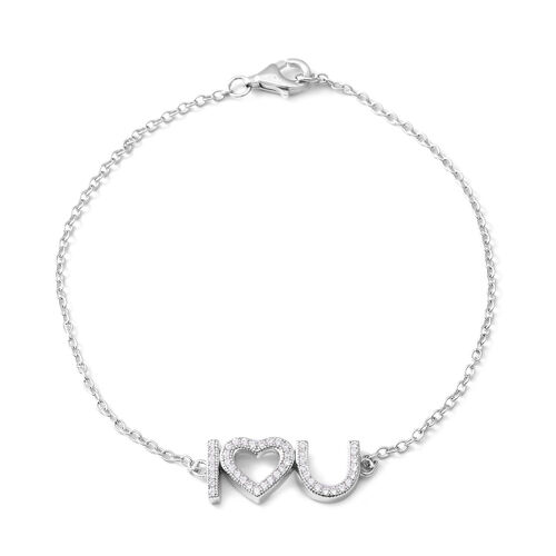 ELANZA Simulated Diamond Love Bracelet in Rhodium Plated Sterling Silver 7 Inch