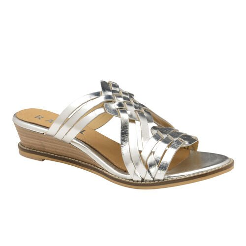 Ravel Marion Leather Mule Wedge Sandals (Size 4) - Silver