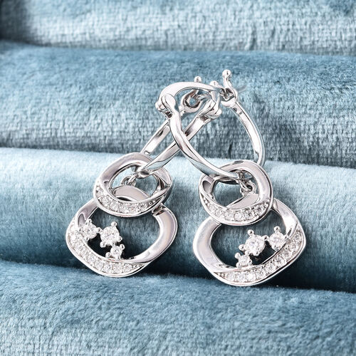 LucyQ Fluid Collection - Moissanite Detachable Earrings (with Clasp) in Rhodium Overlay Sterling Silver, Silver wt 5.30 Gms
