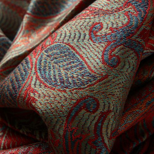 SILK MARK - 100% Superfine Silk Red, Green and Multi Colour Jacquard Jamawar Shawl with Fringes (Size 180x70 Cm) (Weight 125-140 Grams)