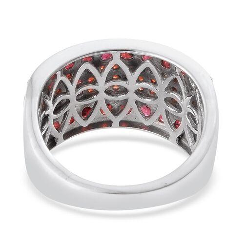 Arizona Anthill Garnet (Rnd) Ring in Platinum Overlay Sterling Silver 3.000 Ct.
