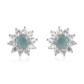 Grandidierite and Natural Cambodian Zircon Stud Earrings (with Push Back) in Platinum Overlay Sterli