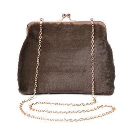 Green Faux Fur Clutch Closure Crossbody Bag (Size: 23x10x18cm) with Chain Shoulder Strap (L: 120cm)