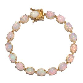 Limited Edition - Rare Size Ethiopian Welo Opal (Ovl) Bracelet (Size 7.5) in 14K Gold Overlay Sterling Silver 19.000 Ct, Silver wt 9.00 Gms.