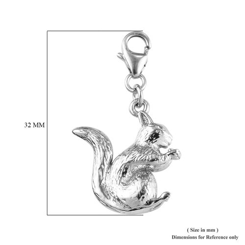 Platinum Overlay Sterling Silver Squirrel Charm 4.64 Gms