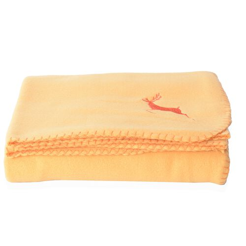 Set of 2 - Red and Mustard Colour Fleece Blanket with Elk Embroidery (Size 170x130 Cm)