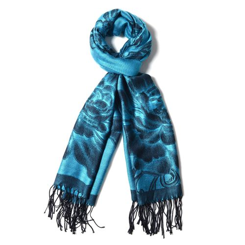 Designer Inspired- Turquoise Colour Sub Shrubby Peony Floral Pattern Monochrome Scarf with Tassels (Size 180X68 Cm)
