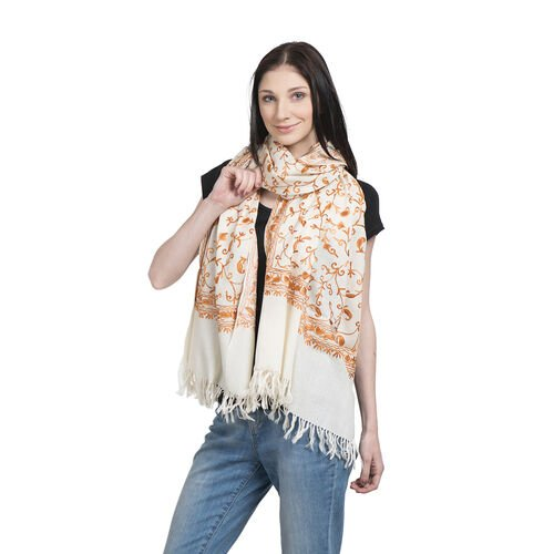 Limited Available - 100% Merino Wool Cream and Orange Colour Embroidered Scarf with Fringes (Size 20