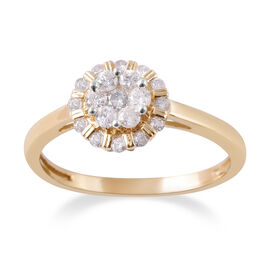 9K Y Gold SGL CERTIFIED Diamond (Rnd) (I3 / G-H) Ring 0.50 Ct.