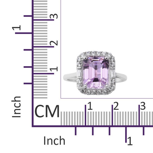 Limited Edition- 9K White Gold Kunzite (Oct 10x8mm) and Natural Cambodian Zircon Halo Ring 6.10 Ct.