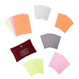 30 Pcs Anti-Tarnish Silver Polishing Cleaning Cloths in Red Pouch (Size 10.8x6.8 Cm) Colour - Coffee