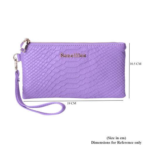SENCILLEZ Genuine Leather RFID Protected Snake Skin Embossed Wristlet (19x11cm) - Lavender