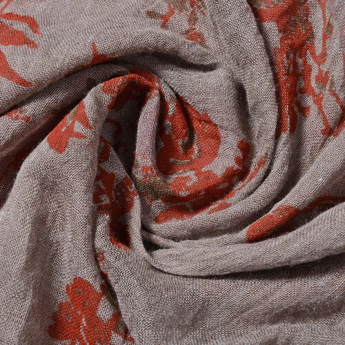 Dark Brown Colour Floral Pattern Scarf (Size 178x100 Cm)