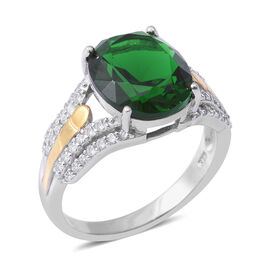 ELANZA Green Cubic Zirconia and Simulated Diamond Solitaire Design Ring in Sterling Silver