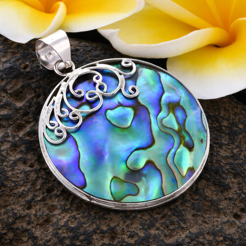 Royal Bali Collection - Abalone Shell Round Pendant in Sterling Silver