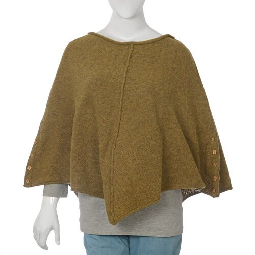 Wool Olive Green Colour Poncho (Size-12, 54x111cm)