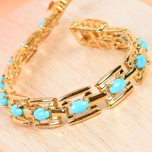 AA Arizona Sleeping Beauty Turquoise Bracelet (Size 7.5) in 14K Gold Overlay Sterling Silver 6.00 Ct, Silver wt 18.50 Gms