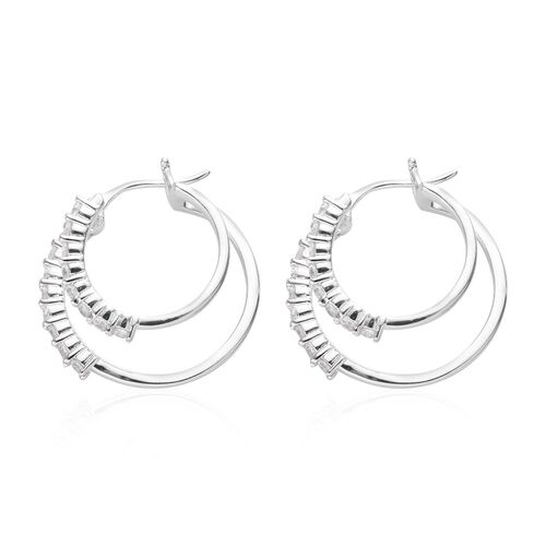 Natural Cambodian Zircon Double Hoop Earrings (with Clasp Lock) in Platinum Overlay Sterling Silver 1.16 Ct, Silver wt 5.60 Gms