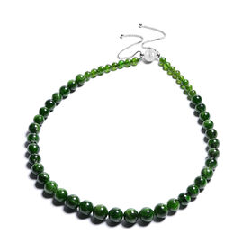 Russian Diopside Beaded Adjustable Necklace (Size 24 with Magnetic Lock) in Rhodium Overlay Sterling