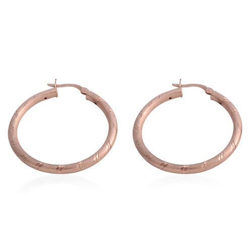 Italian Made - Rose Gold Overlay Sterling Silver Matt Finish and Diamond Cut Hoop Earrings (with Clasp Lock).Silver Wt 4.00 Gms