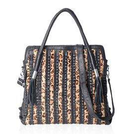100% Genuine Leather Black and Leopard Pattern Extra large Tote Bag with Removable Shoulder Strap (S