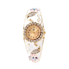 STRADA Japanese Movement White Austrian Crystal Studded Water Resistant Enamelled Peacock Pattern Ba
