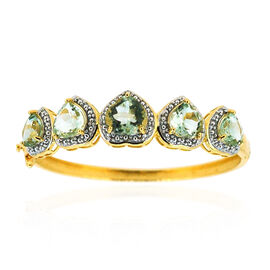 Green Amethyst (Hrt 4.75 Ct) Bangle in 14K Gold Overlay Sterling Silver (Size 7.5) 20.000 Ct. Silver Wt 22.00 Gms